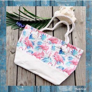 Handbags - NWT Large Canvas Rope Flamingo Palm Beach Bag